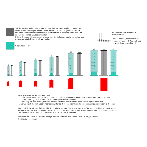 Vector image of syringes of different sizes