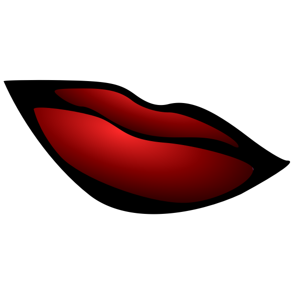 Outlined red lips