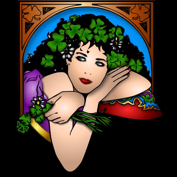 Illustration of woman leaning through window