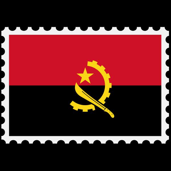 Angola flag stamp