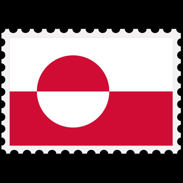 Greenland flag stamp
