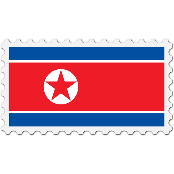 Stamp North Korea Flag