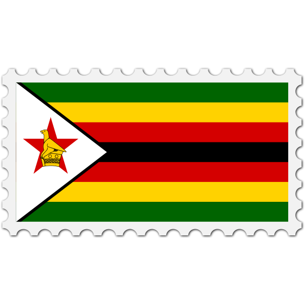 Zimbabwe flag stamp
