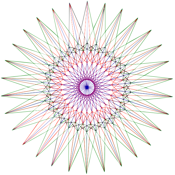 Vector graphics of drawn abstract colorful star