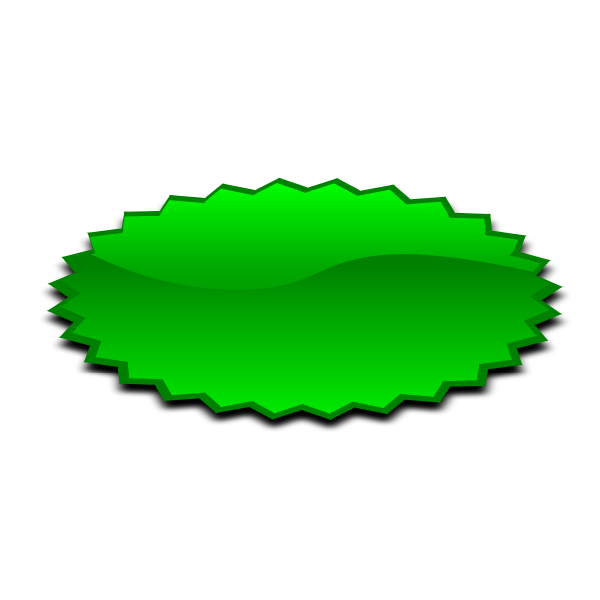 Oval shaped green star vector illustration