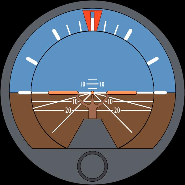 Vector illustration of aeroplane attitude indicator
