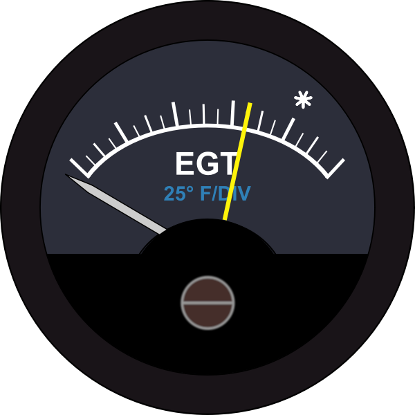 An exhaust gas temperature gauge vector drawing