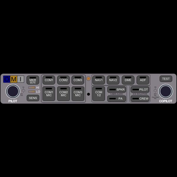 Contemporary aviation audio panel vector clip art