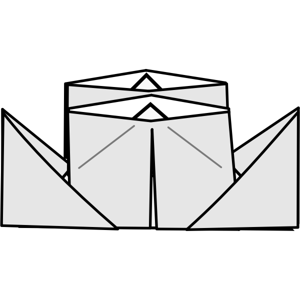 Origami steamer vector drawing