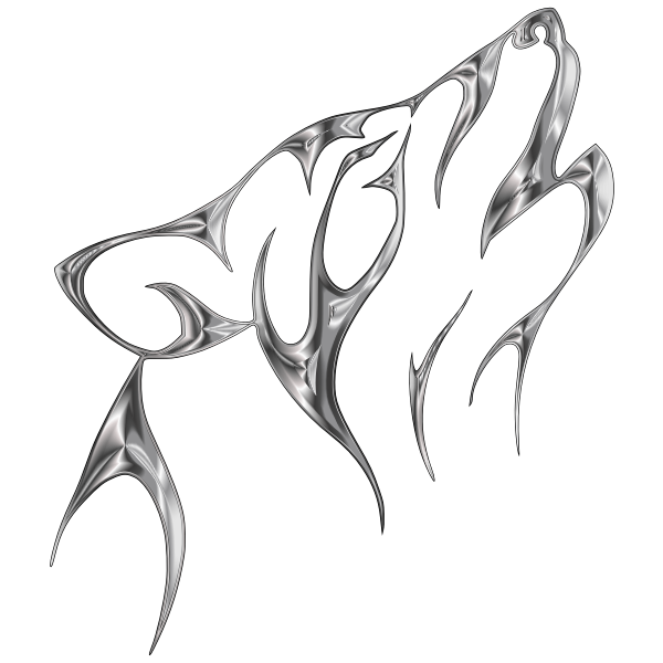 Steel Tribal Wolf No Background