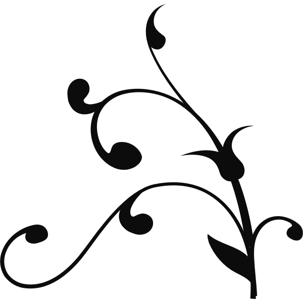 Vector clip art of twisted plant silhouette