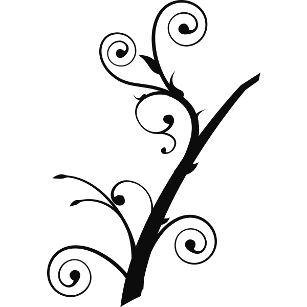 Upright twisted branch silhouette vector illustration