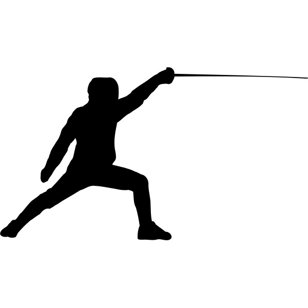 Vector silhouette of a fencer