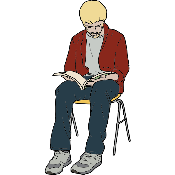 Vector drawing of young man sitting on chair