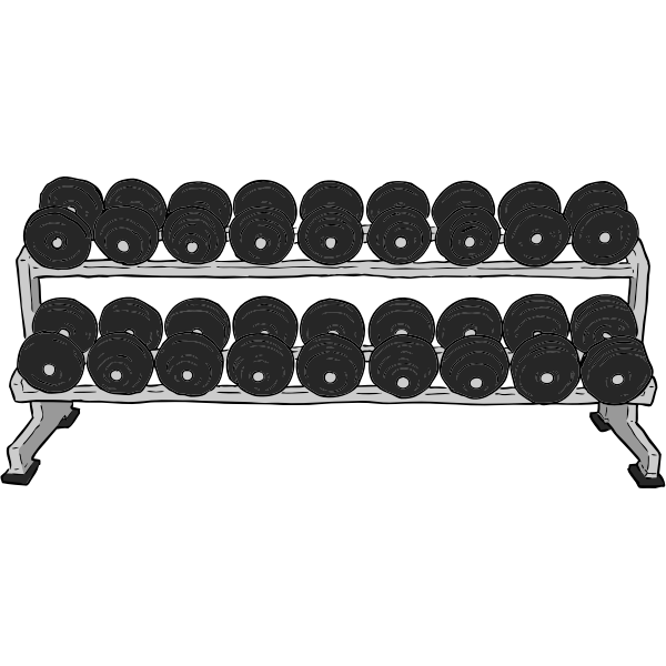 Dumbell rack color vector drawing