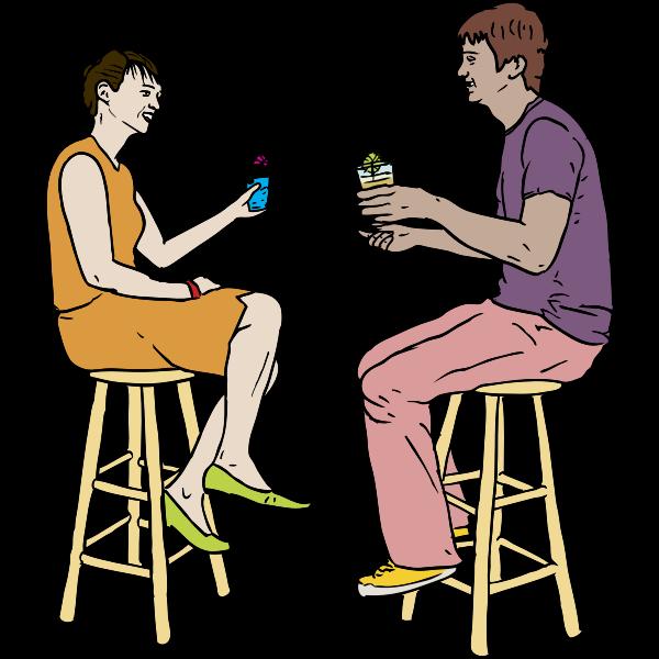Couple Having Drinks Vector
