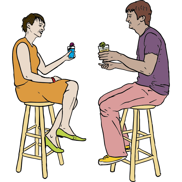 Couple Having Drinks Vector