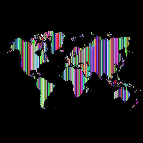 Striped World Map Prismatic