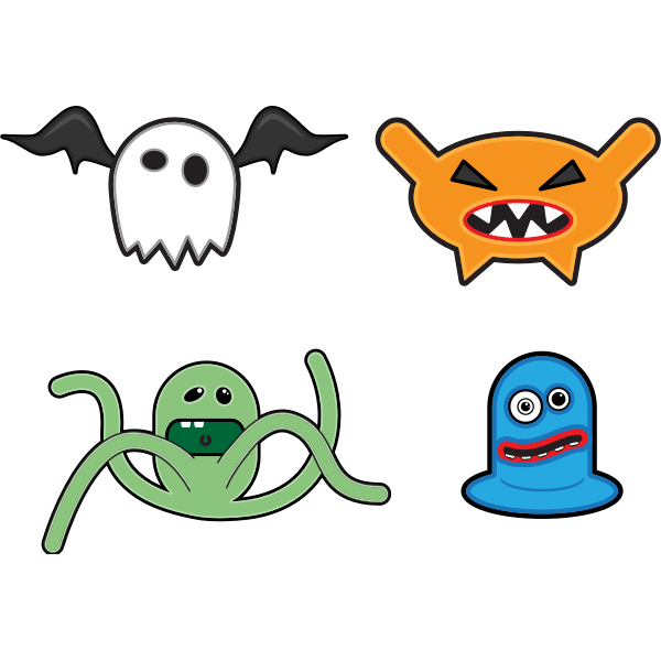 Cartoon monsters selection vector drawing