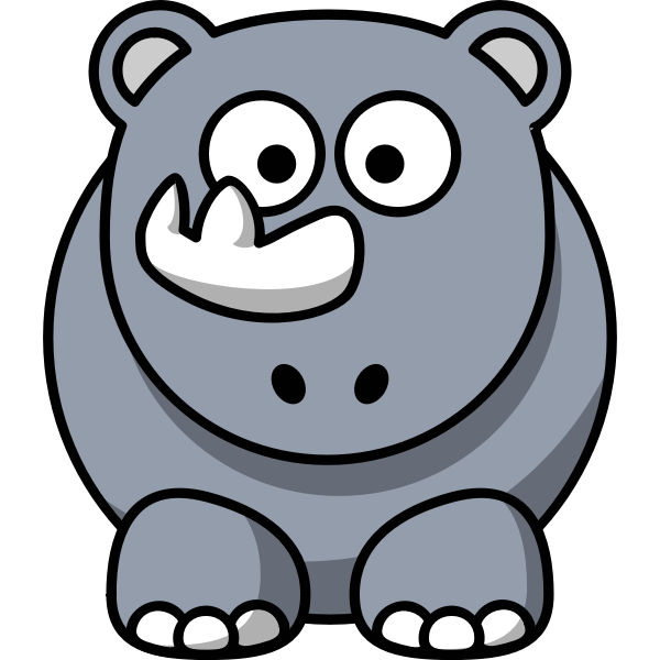 Vector clip art of happy cartoon rhino