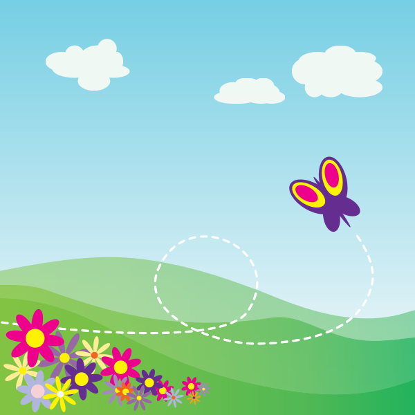 Butterfly flying in field of flowers vector image