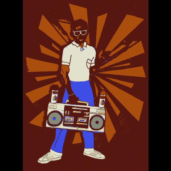 Man holding a boombox vector clip art