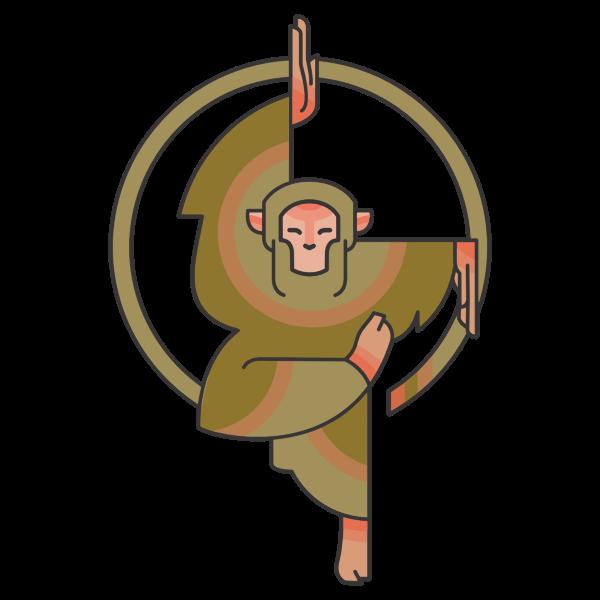 Stylized cartoon monkey