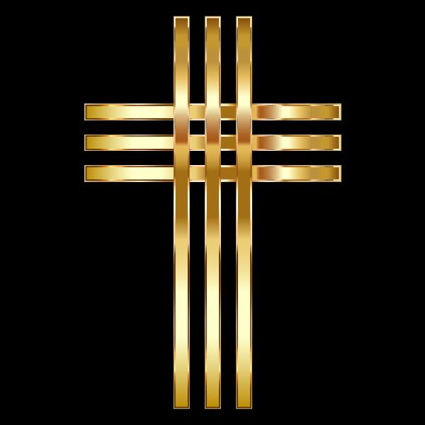 Stylized Golden Cross No Background