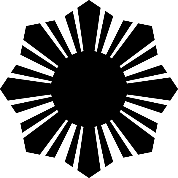 Black sun symbol black silhouette vector graphics