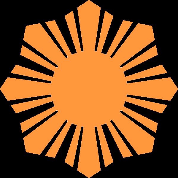 Phillippine flag sun symbol orange silhouette vector illustration
