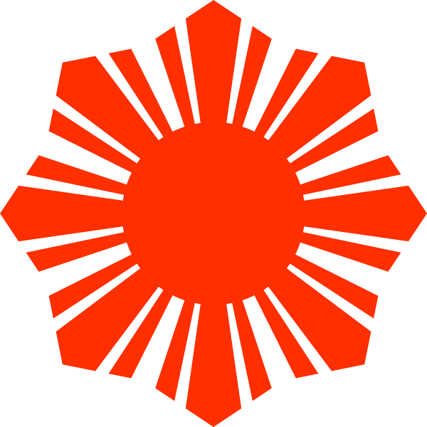 Philippine flag sun symbol red silhouette vector drawing