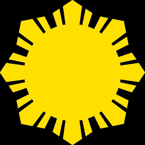 Phillippine flag sun symbol yellow silhouette vector clip art