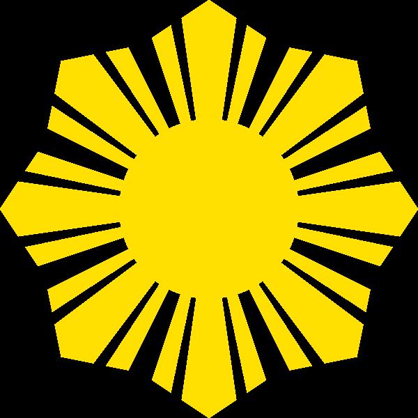 Phillippine flag yellow sun symbol silhouette vector image