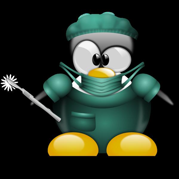 Penguin surgeon vector image