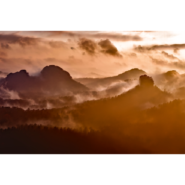 Alps in foggy