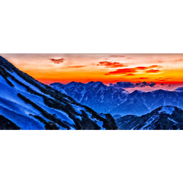 Japanese mountains in sunset