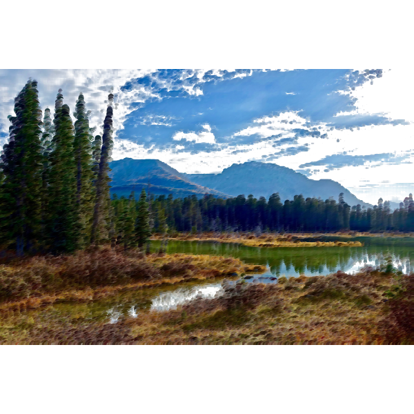 Surreal lake view vector image