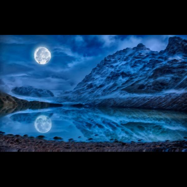 Surreal mystical lunar midnight