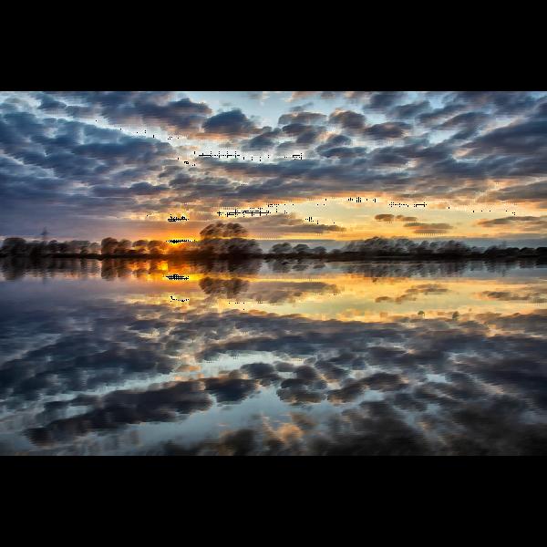 Stormy sky lake
