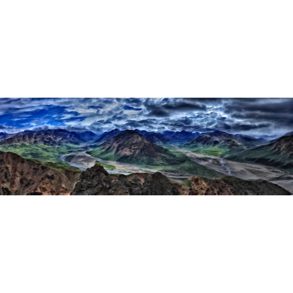 Surreal panoramic mountain view