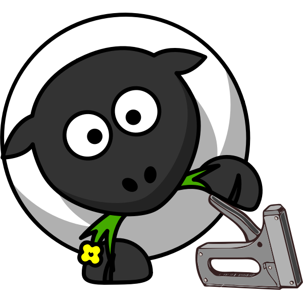 Sheep with a stapler vector drawing