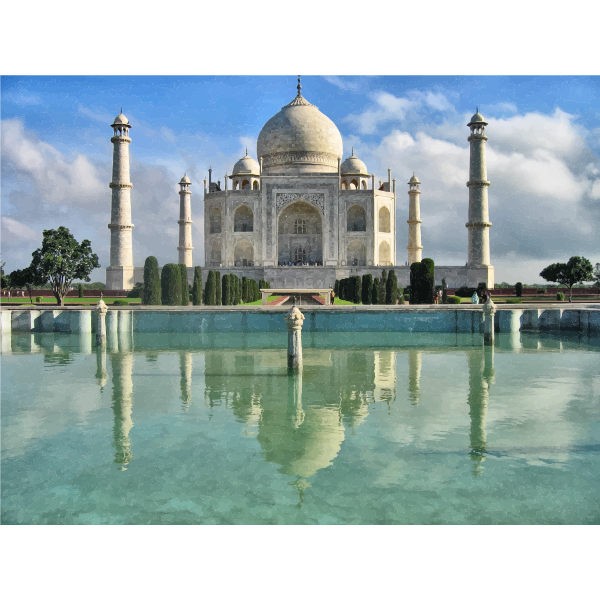 Taj Mahal with reflection in water illustration