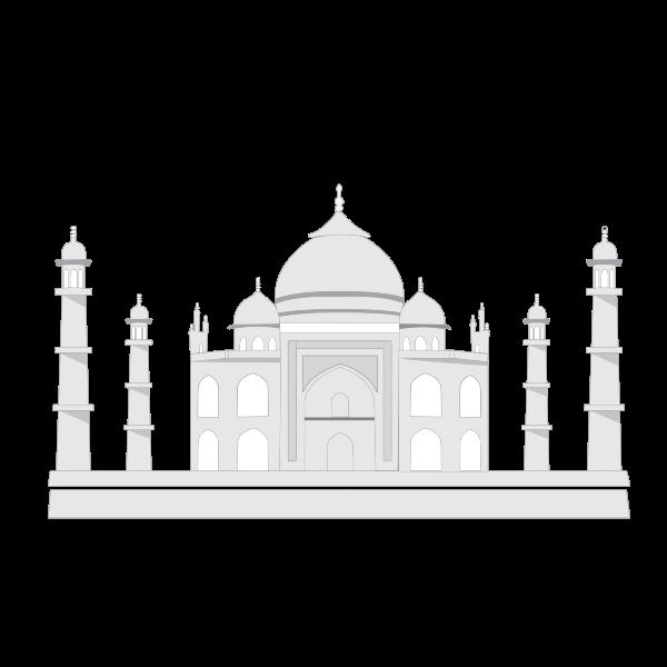 Vector drawing of Taj Mahal in grascale