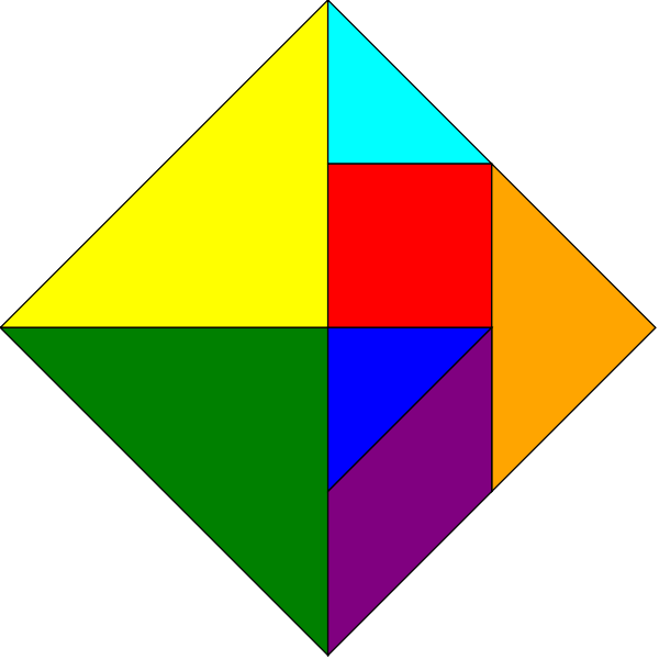 Tangram square rainbow colors