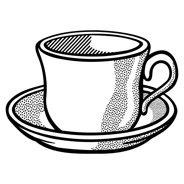 Vector drawing of wavy tea cup on saucer