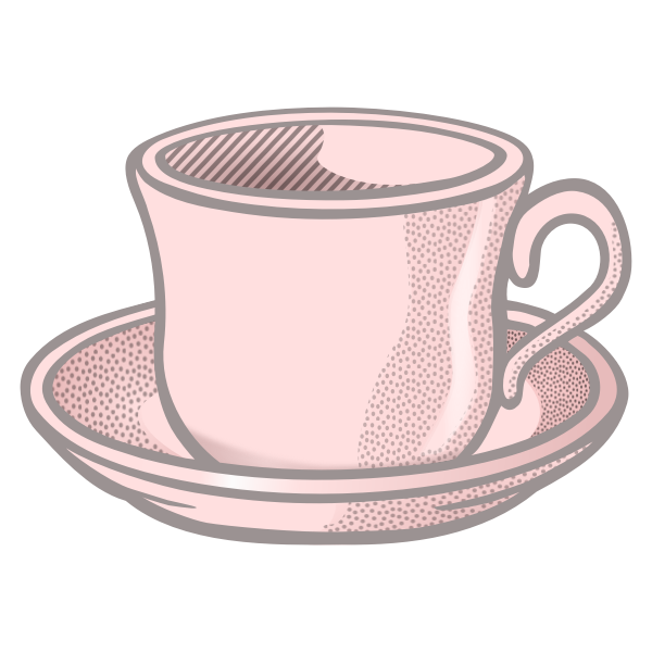 Vector illustration of pink wavy tea cup on saucer