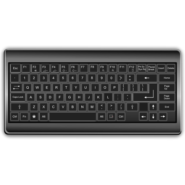 Black and white keyboard with shadow vector image