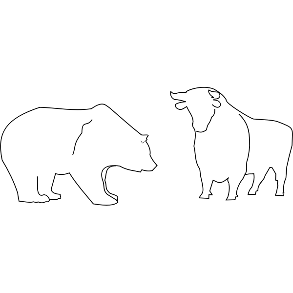 Bull and bear outline vector image