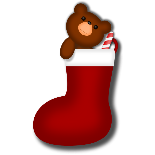 Vector graphics of teddy bear in Christmas stocking