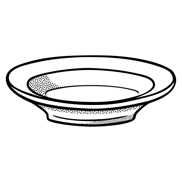 Deep plate line art vector drawing